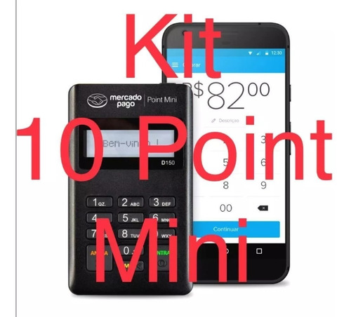 kit 10 maquina cartão point mini + cordinhas