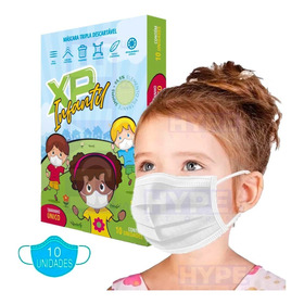 Kit 10 Máscara Facial Infantil Descartável Tripla Com Filtro