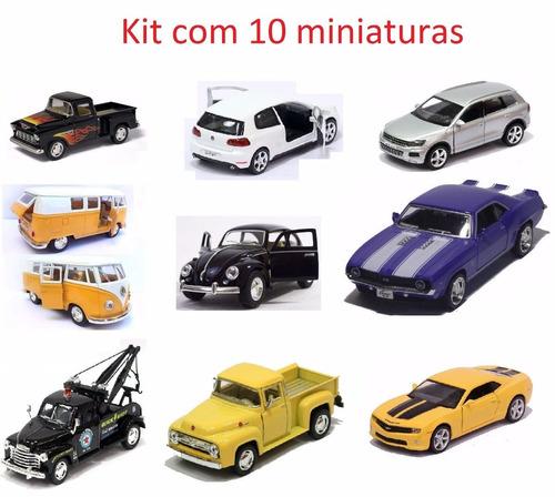 kit 10 miniaturas ferro 1:32 fusca golf pick up kombi  cl17