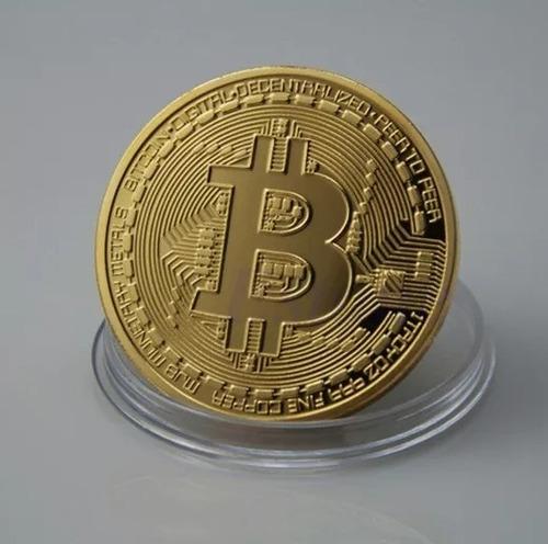 kit 10 moeda bitcoin física dourada banhada ouro colecionado
