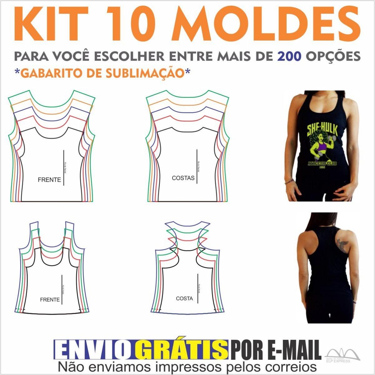 e5464e7c39cf7 Kit 10 Moldes De Roupas A Sua Escolha. Camisas