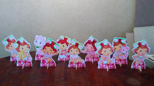 kit 10 moranguinho baby de mesa,display,festa infantil,mdf