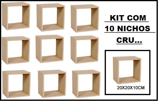 Atacado Artesanato Mdf ~ Kit 10 Nichos Crú 20x20x10 Atacado 100%mdf 15mm P artesanato R$ 60,99 em Mercado Livre