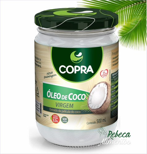 kit 10 - óleo de coco virgem 500ml copra - 100% natural