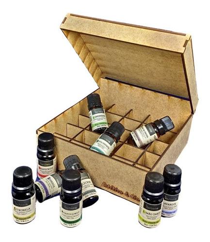 kit 10 óleos essenciais 10ml via aroma brinde caixa mdf