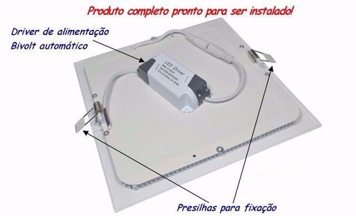 kit 10 painel plafon 25w luminária led quadrado embutir 24w