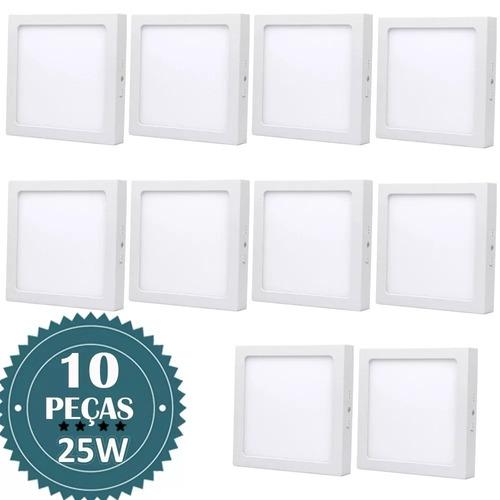 kit 10 painel plafon 25w quadrado sobrepor led branco frio