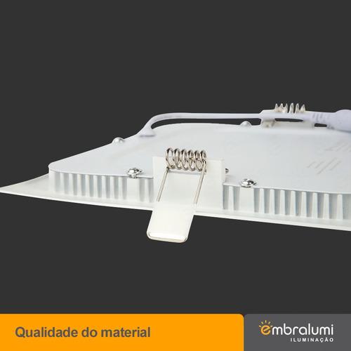 kit 10 painel plafon lumiária led quadrado embutir slim 12w