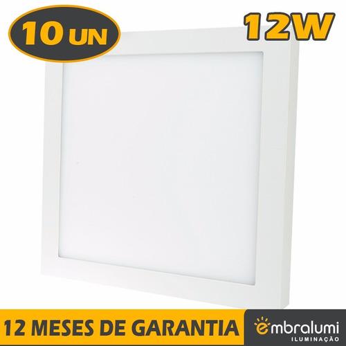 kit 10 painel plafon luminária sobrepor teto led 12w quente