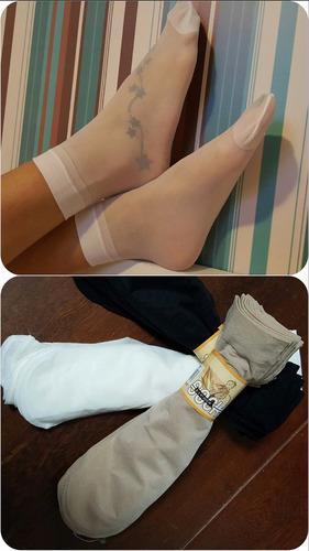kit 10 pares meias soquete leve elástica fio 10 transparente