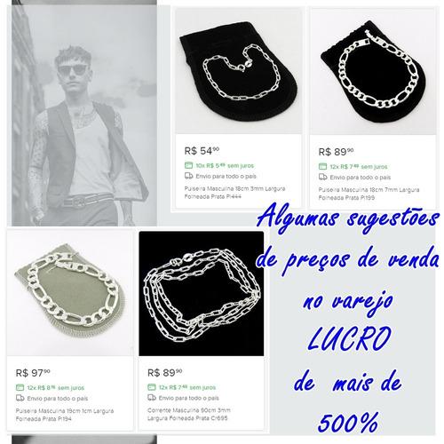 kit 10 pçs de pulseira e corrente masculina folheado a prata