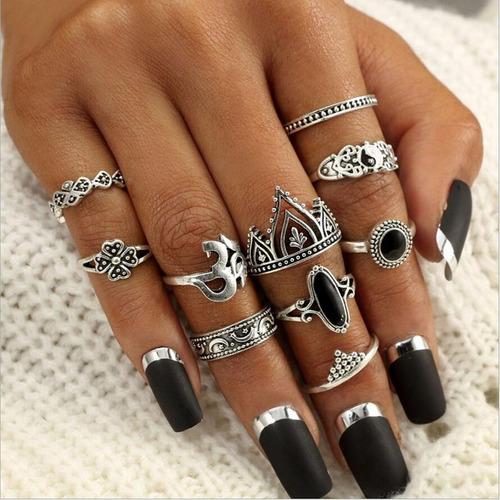 kit 10 peças anel falange prata vintage jóias para mulheres