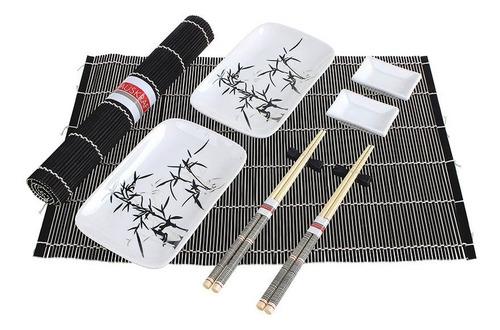 kit 10 peças jogo comida japonesa shoyo hashi sushi de bambu
