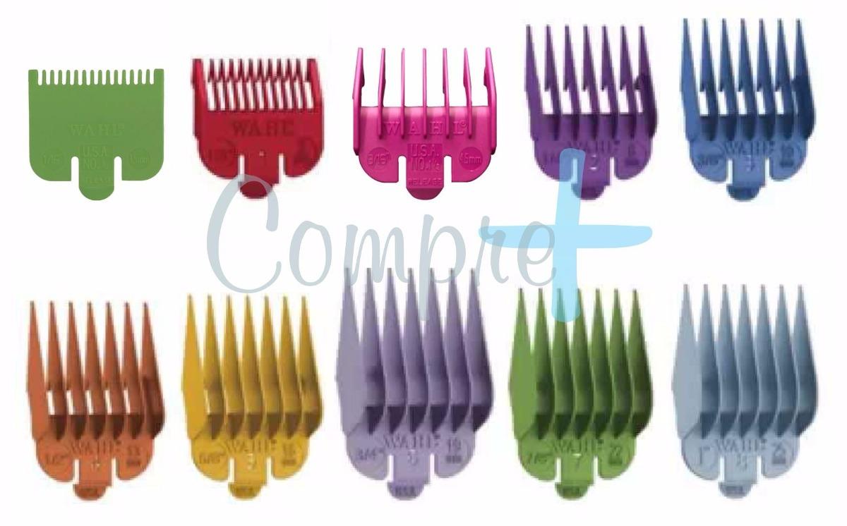 a1715b606 kit 10 pentes guia colorido p/ maquina de cortar cabelo wahl. Carregando  zoom.