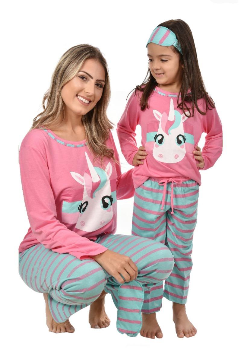 fd8f5d46ea3a14 Kit 10 Pijama Mãe E Filha Unicórnio Longo Inverno Tapa Olho