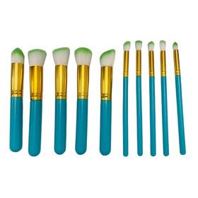 Kit 10 Pincéis Maquiagem Kabuki Precisão + 1 Esponja Brinde