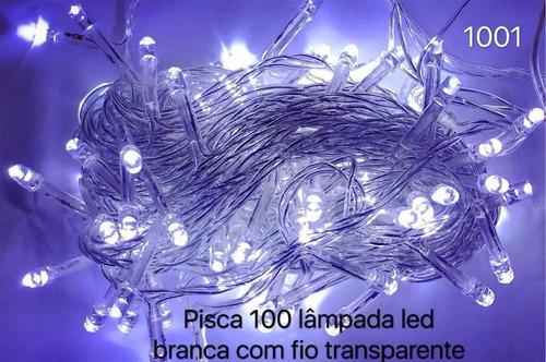 kit 10 pisca 100 lâmpadas led 8 funções branco c/ fio transp
