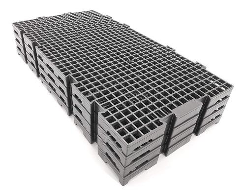 kit 10 pisos plástico preto estrado 50x25cm