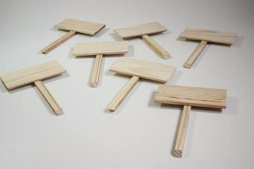 kit 10 placas identificação jardim/horta madeira