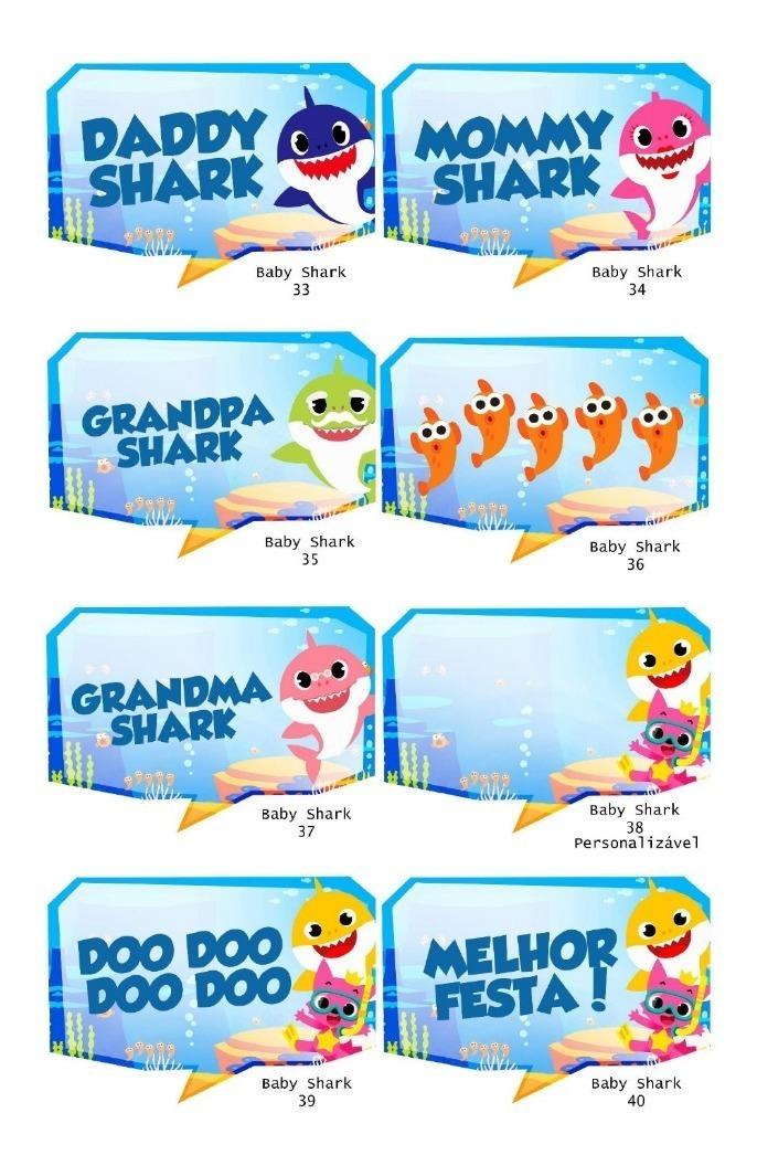 Kit 10 Plaquinhas Divertidas Baby Shark Festa Aniversario R 25