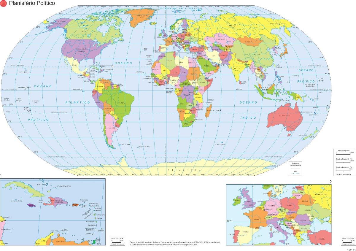 mapa mundi em portugues Kit 10 Posters Mapa Mundi Em Portugues Atualizado A3   R$ 55,00 em  mapa mundi em portugues