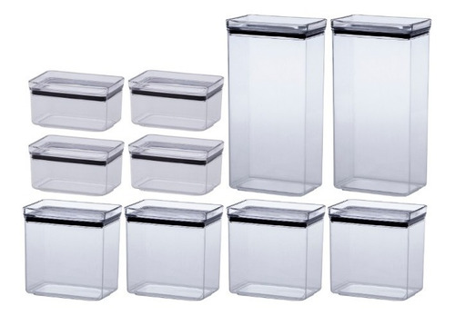 kit 10 potes herméticos retang. empilháveis 580/1300/2600ml