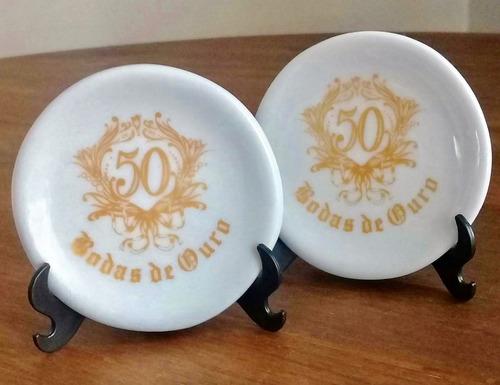 kit 10 pratinhos bodas de ouro 50 anos de casamento