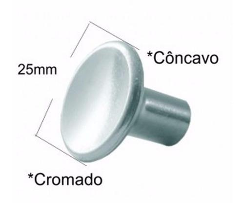 kit 10 puxador cromado aliança 25 mm porta madeira gaveta