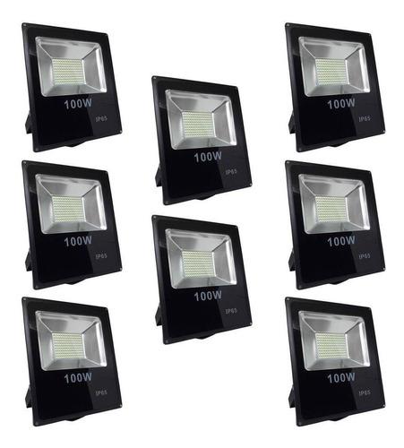 kit 10 refletor 100w smd iluminação outdoors fachada prédios