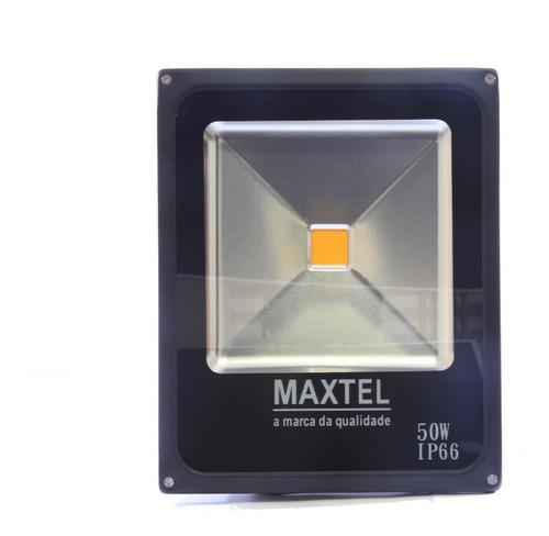 kit 10 refletor led 50w holofote maxtel branco frio ip66
