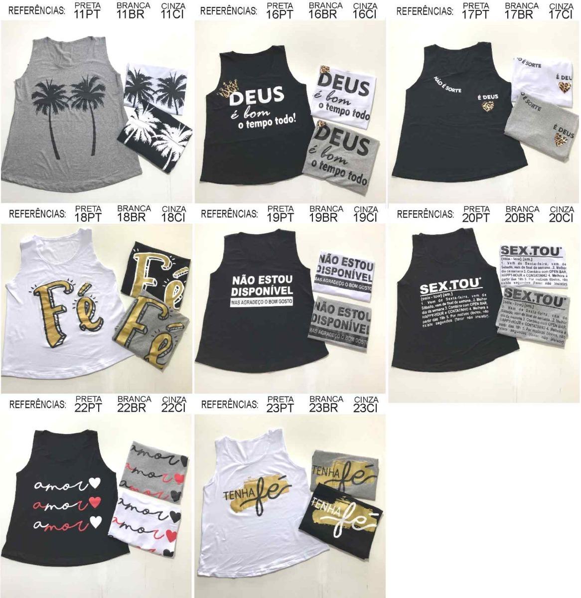2eff646542d99 Kit 10 Regata Feminina T-shirts (várias Estampas)- Atacado - R  169 ...