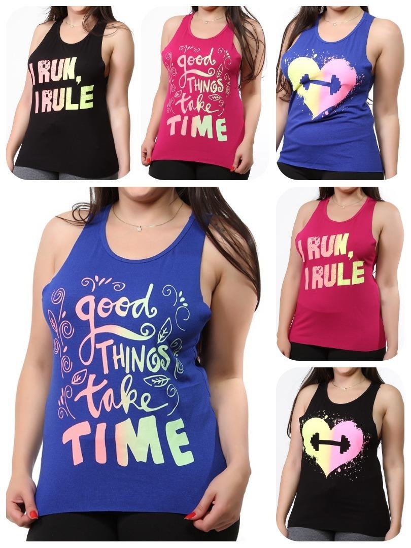 kit 10 regatas femininas academia t shirt fitness 9389. Carregando zoom. cf0b6aa1bf2