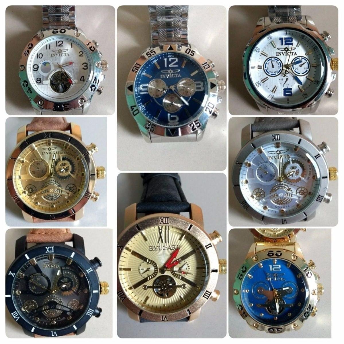 0d1dc5f28a0 Kit 10 Relógio Masculino Dourado Luxo P  Revender + Brinde - R  189 ...