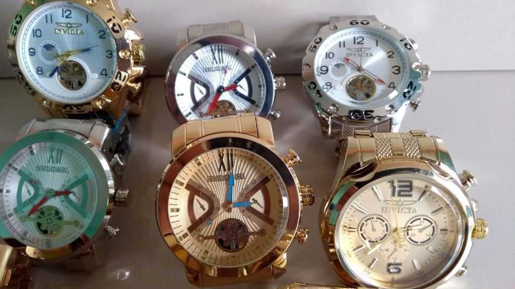 01132fd4e11 kit 10 relógio masculino dourado luxo para revender lucro. Carregando zoom.