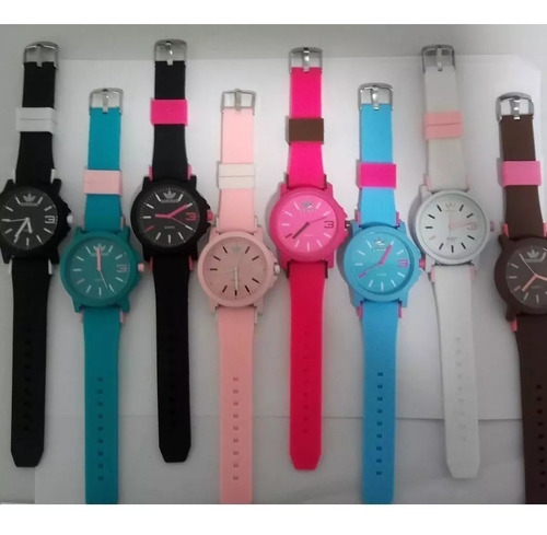 kit 10 relógios adidas color cores c/ caixinhas + brinde