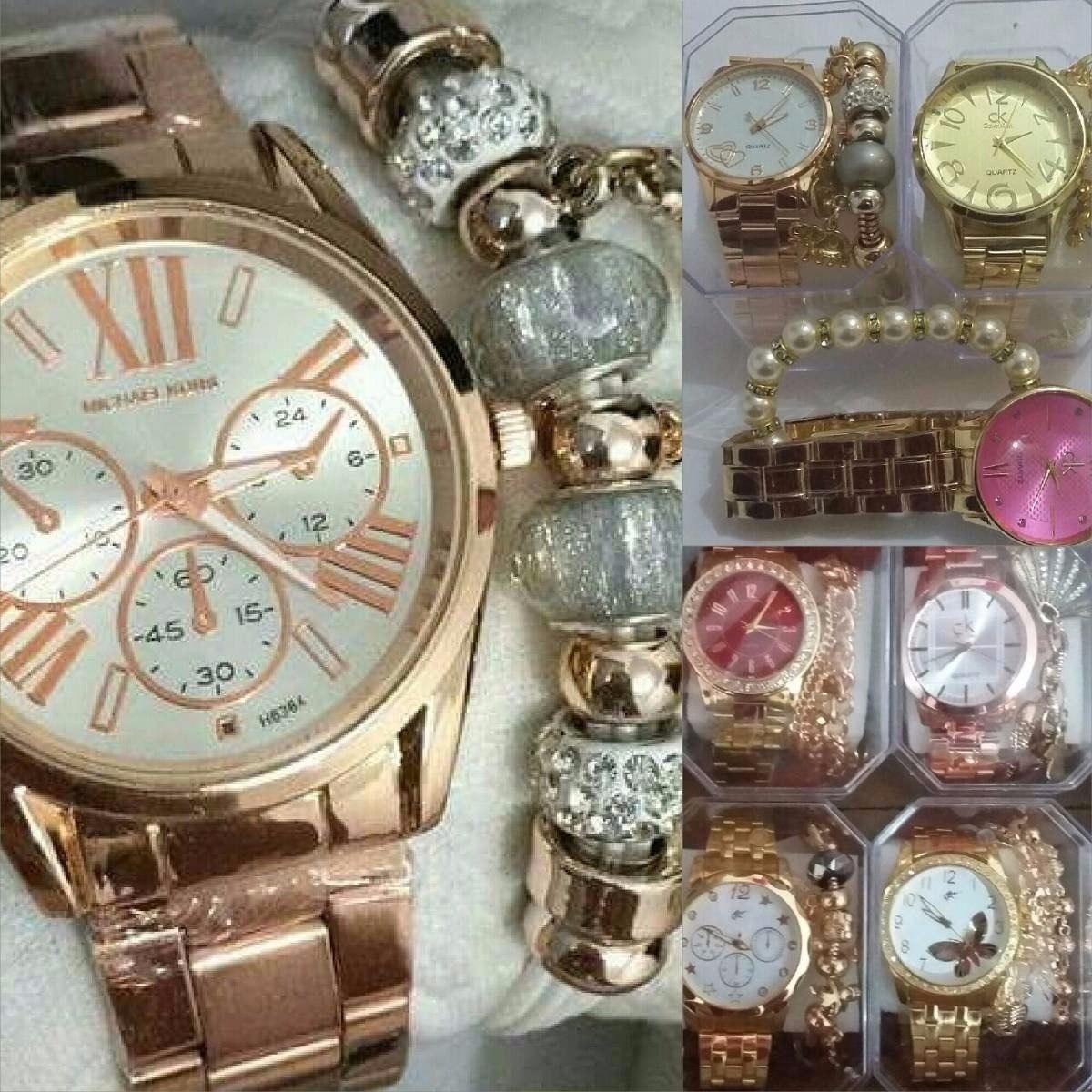 f7225c2045f kit 10 relógios feminino c  pulseira atacado revenda+caixa. Carregando zoom.