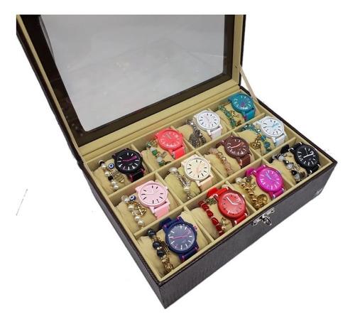 kit 10 relógios + pulseiras feminino esportivo atacado+caixa