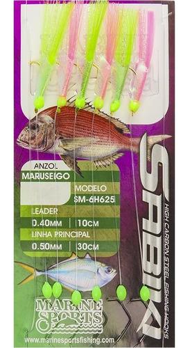 kit 10 sabiki marine sports rosa verde pesca 12 14 16 18 20