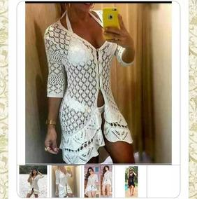 81735c03e301 Saida De Praia Vestido Longo Croche - Calçados, Roupas e Bolsas com o  Melhores Preços no Mercado Livre Brasil