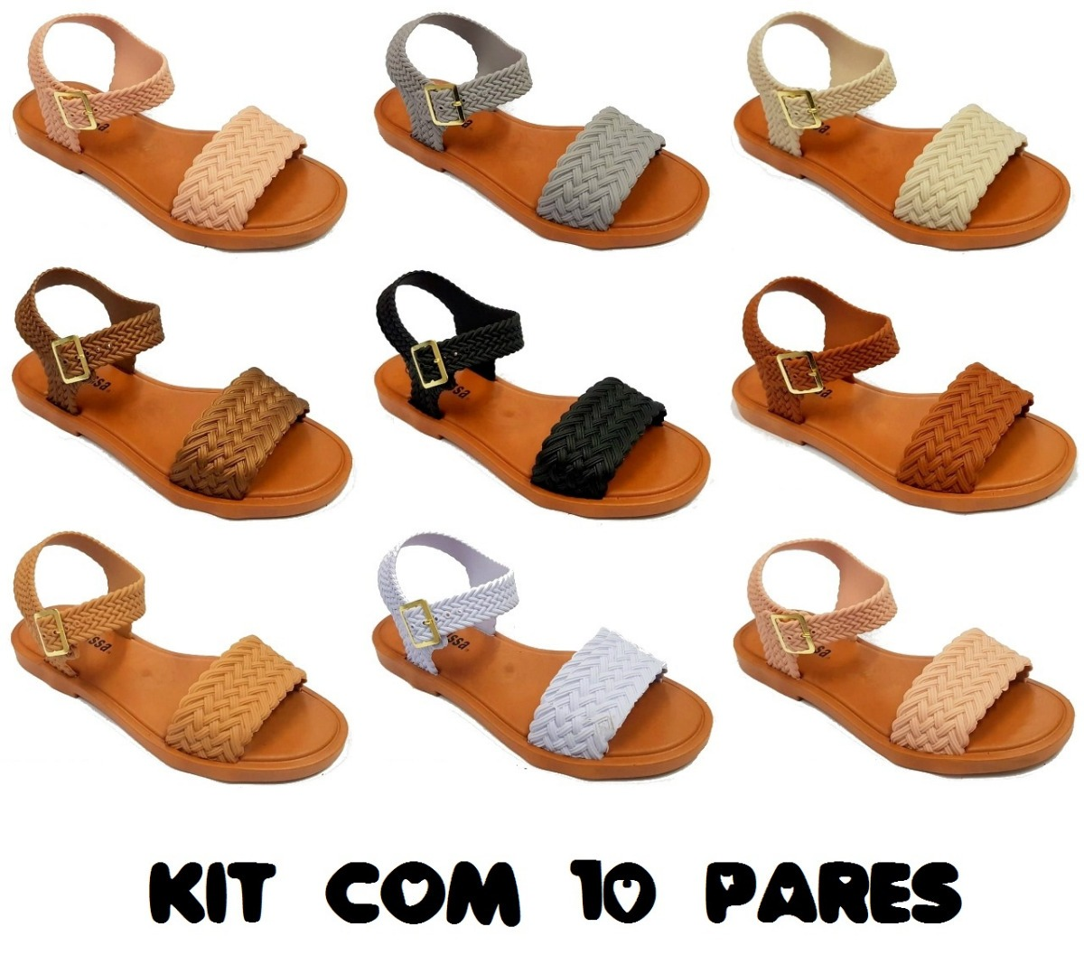 5cb615802 kit 10 sandálias rasteira mel mar sandal + salinas 2019. Carregando zoom.