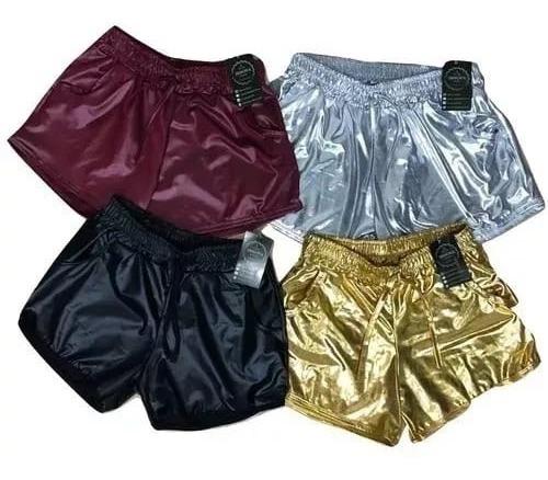 6a8082655 Kit 10 Short Hot Pants Cirrê Couro Fake Metálico Atacado - R$ 220,90 ...