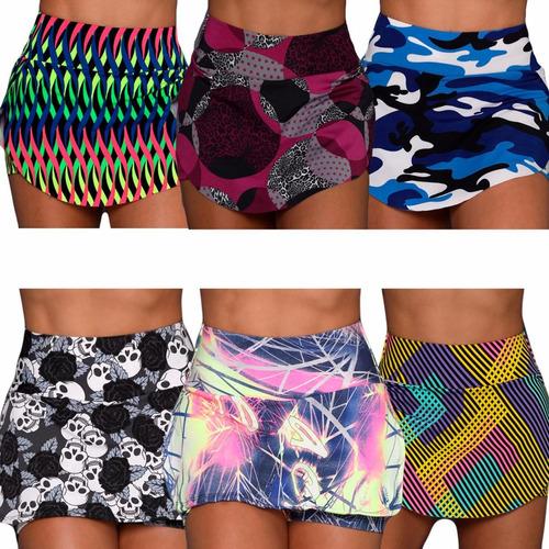 kit 10 short saia suplex estampado colorido academia atacado