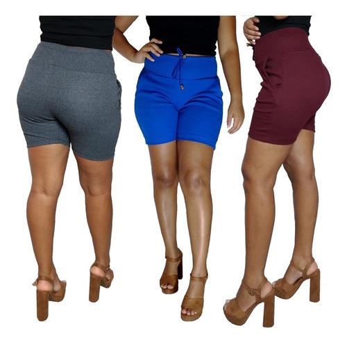 kit 10 shorts feminino cintura alta modelo moleton atacado