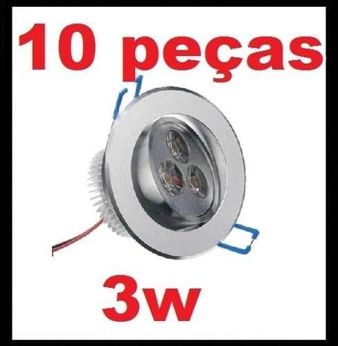 kit 10 spot super led direcionável 3w p/ teto sanca e gesso