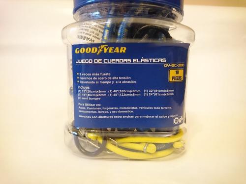 kit 10 tensores elásticos con ganchos goodyear motos autos