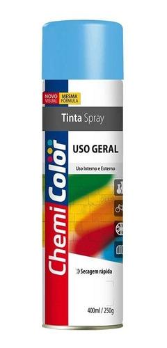 kit 10 tinta spray chemicolor uso geral azul claro 400ml