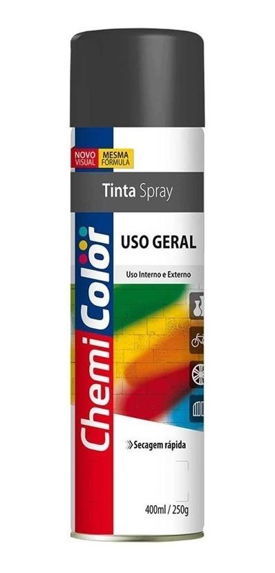 fbd303c366f8d6 Kit 10 Tinta Spray Chemicolor Uso Geral Preto Fosco 400ml