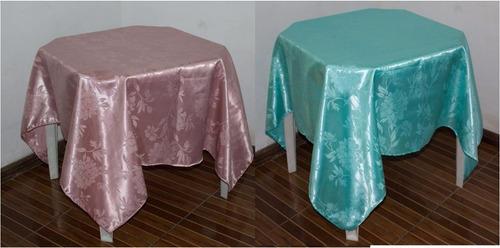 kit 10 toalhas de mesa cetim jacquard floral 150x150