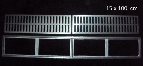 kit: 10 undades ralo linear grelha alumínio fundido 15x100