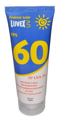 kit 10 unidades protetor solar uva uvb fator 60 luvex 120g